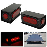 Pair 6 Oval Led Trailer Truck Tail Light W/ Steel Housing Box And 2 Marker Light