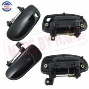 Black 4pcs Left Right Front Rear Outside Door Handles For 00-06 Hyundai Accent