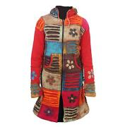 Womenand039s Rainbow Floral And Razor Cut Patchwork Long Coat