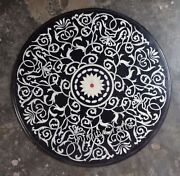 Ancient Craft Work Inlaid Marble Hotel Table Top Black Dining Table Size 36 Inch