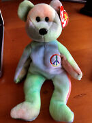 Original 1996 Ty Beanie Baby Peace The Bear - Rare And Retired - With Tag Errors