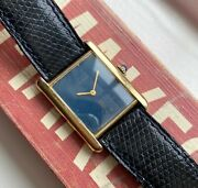 Vintage Tank Manual Wind Blue Dial 18k Gold Electroplated Case Watch