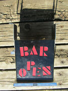 Bar Open Light From Swank Vintage For Parts As Is 7 3/4 Tall By 6 W, 3 1/4 T