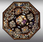 Beautiful Black Marble Table Top Pietra Dura Art Dining Table Size 48 Inches