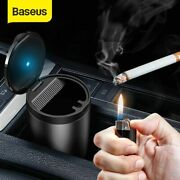 Car Ashtray Cup Holder With Lid Led Lighted Cigarette Smell Proof Portable Men