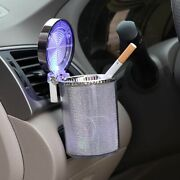 Car Ashtray Cup Holder With Lid Led Lighted Cigarette Smell Proof Portable Clip