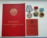 Soviet Ussr Set Medals And Documents Soldier Afghanistan