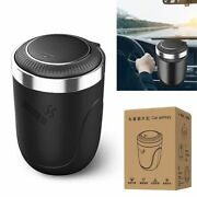 Car Ashtray Cup Holder With Lid Led Lighted Cigarette Smell Proof Portable