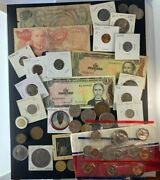 Us And Foreign Coin And Currency Lot, Great Beginner Set, Lot 17