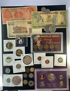 Us And Foreign Coin And Currency Lot, Great Beginner Set, Lot 16