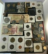 Us And Foreign Coin And Currency Lot, Great Beginner Set, Lot 10
