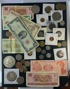 Us And Foreign Coin And Currency Lot, Great Beginner Set, Lot 15