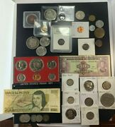 Us And Foreign Coin And Currency Lot, Great Beginner Set, Lot 11