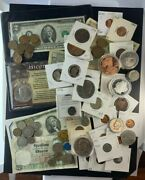 Us And Foreign Coin And Currency Lot Great Beginner Set Lot 24