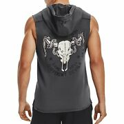 Under Armour Men's Project Rock Snake Sleeveless Hoodie Grey French Terry