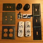 Antique Art Deco Electrical Parts Porcelain Knife And Wall Switchs Outlets Plates