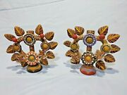 Pair Vintage Terra Cotta Clay Mexican Folk Art Tree Of Life Candle Holders