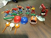 12 Vintage Toy Baseball Players Cake Toppers Plastic Hockey Hats Gloves Display