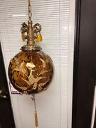 Antique Amber Brown Glass Light W/embossed Gold Leaves Hanging Swag Light