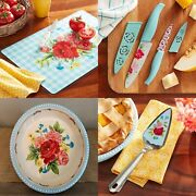 New Pioneer Woman Sweet Rose Knives, Cutting Board, Pie Plate And Server - Floral