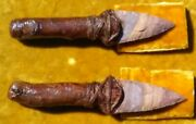 2 Matching Flint Stone Hunting Knives, Oak Handle 6 Inch Each, Approx.