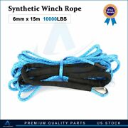 Winch Synthetic Rope Line 10000lbs 1/4and039and039x50and039 Recovery Cable Atv Blue