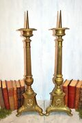 Antique Large French Pair Brass Altar Candle Holders Prickets 28 Jesus Dove
