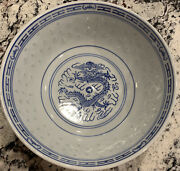 Vtg Chinese Rice Eyes Serving Bowl Tienshan Dragon 7 3/4andrdquow 3andrdquo Deep. Blueand White