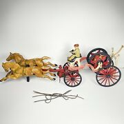 Hubley Cast Iron Hose Reel Fire Wagon Two Horse Team With Figure Large