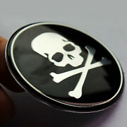 4pcs Car Wheel Center Hub Caps 56mm Metal Cross Bone Skull Logo Emblem Stickers