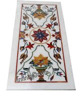 24 X 48 Inches White Patio Table Top Marble Dining Table With Flower Pattern