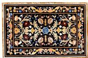 30 X 48 Inches Marble Dining Table Top Floral Design Inlaid Patio Coffee Table