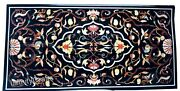 30 X 60 Inches Black Lawn Table Top Marble Dining Table With Marquetry Art