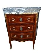 Antique French Inlaid Marble Top Three Drawer Serpentine Commode