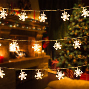Snowflake Christmas Fairy Lights. 32.8and039 Plug In 100 Warm White Led Lights