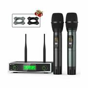 Fifine Wireless Microphone System, Two Handheld Dynamic Cordless Mic And Dual...