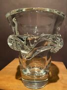 """Daum Nancy France Clear Crystal Free Form Vase 7 1/4"""" Tall, Mint See Pictures"""