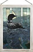 Scot Storm Weather The Storm Loon Framed Stained Glass Window Panel