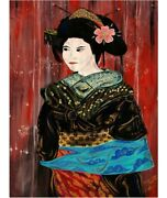 Art Painting Oil Expression From Japan . Unique Piece Authentic . Collectible