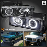 For 1988-1998 Chevy C10 Pickup Suburban Led Halo Projector Headlights Black Pair