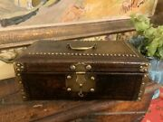 English Early Leather And Brass Studded Box C 1820 Rare Top Box For Jewelry Key