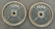 York Barbell 45 Lb Milled Olympic Weight Plates Vintage Usa Stamp Rusty Pair 5
