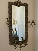 3 Vintage Wall Sconces Cast Metal Bevel Mirrors And Candle Holders Set Of 3