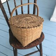 Antique Splint Ash Covered Country Farm Sewing Basket Shaker Type -nice