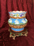 House Of Hatten Peggy Fairfax Herrick Rabbits Flowers Jardiniere Pot With Base