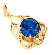 9ct Yellow Gold Vintage Pendant Blue Glass Necklace Fine Jewellery Leaf Surround