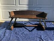 Primitive Wood And Metal Horse Drawn Carriage Seat Buckboard Bench Antique
