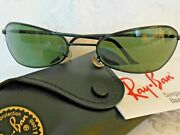 Vintage Bandl Sunglasses W2385 Curved Black Orbs Wrap New Old Stock
