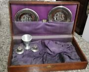 Antique 1800's Catholic Wooden Box Dovetailed Last Rites W Cross Silver Plates