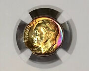 1958-d Roosevelt Dime Ngc Ms66 Ft Full Torch/bands Stunning Rainbow Toned
